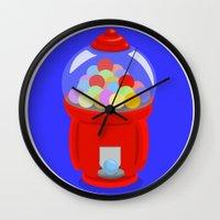 gumball Wall Clocks featuring Gumball Machine by elledeegee