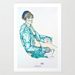 Egon Schiele - Sitting Semi-Nude with Blue Hairband - Digital Remastered Edition Art Print