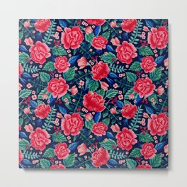 Red Roses with Green & Blue Leaves - Floral Pattern Metal Print