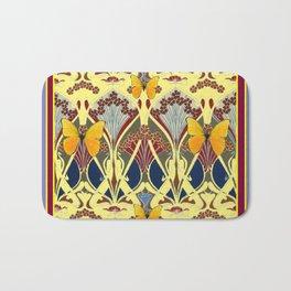 Decorative Yellow Art Nouveau Butterfly Maroon Designs Bath Mat
