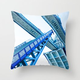 Tower Bridge 02B - Going Up (Blue) Throw Pillow