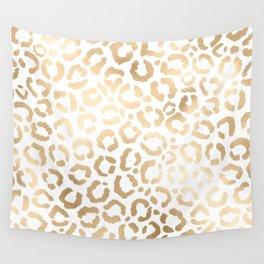 Elegant Gold White Leopard Cheetah Animal Print Wall Tapestry