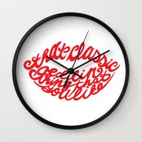 lip Wall Clocks featuring Red lip by saralucasi
