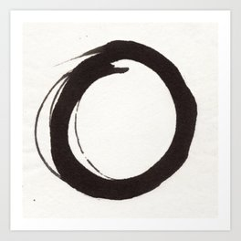 Enso Zen Ink Painting Circle in Black and White Art Print