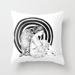 Spirit Animal: The Snow Leopard Throw Pillow