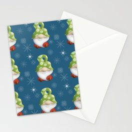 Blue Winter Gnome Pattern Stationery Cards