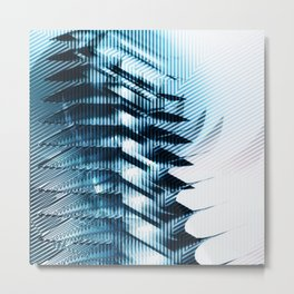 Futuristic building? Illusion with striped shapes and abstract light Metal Print