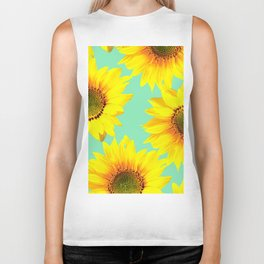 Sunflowers on a pastel green backgrond - #Society6 #buyart Biker Tank