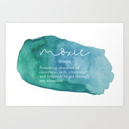 Moxie Definition - Blue Watercolor Art Print