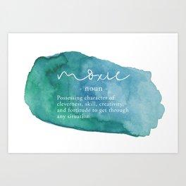 Moxie Definition - Blue Watercolor Art Print