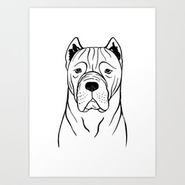 Cane Corso (Black and White) Art Print