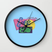 80s Wall Clocks featuring Cafe 80s by Loku