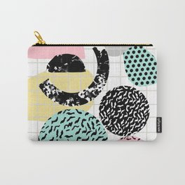 Amped - retro memphis throwback 80s style grid dots painting cut paper Carry-All Pouch