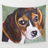 beagle Wall Tapestries featuring Beagle Pet Art by Karren Garces Pet Art
