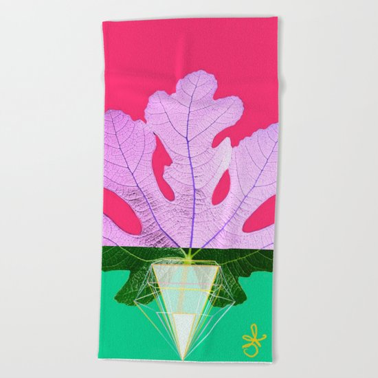 Fig Leaf Diamond Christmas Half and Half Beach Towel