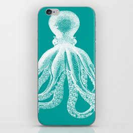 Octopus   Teal and White iPhone Skin