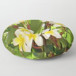 White and Yellow Frangipani Flowers with Leaves in Background  Floor Pillow