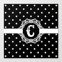 Black Monogram: Letter C Canvas Print