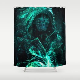 Enthralling Intriguing Turquoise Ghastly Dystopian Masked Man Ultra HD Shower Curtain