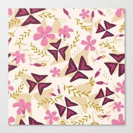 Purple Shamrock Floral Layered Pattern / Cream Canvas Print