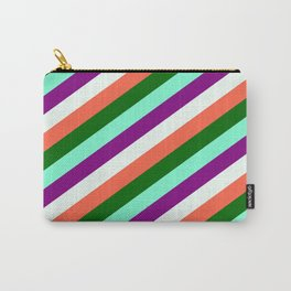 Eyecatching Aquamarine, Purple, Mint Cream, Red, and Dark Green Colored Pattern of Stripes Carry-All Pouch
