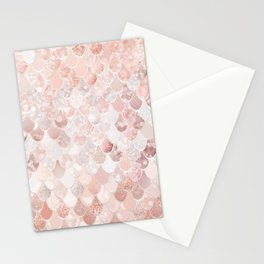 Mermaid Art, Blush Pink and Rose Gold Stationery Cards