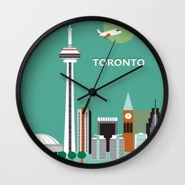 Toronto, Ontario, Canada - Skyline Illustration by Loose Petals Wall Clock
