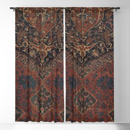 Boho Chic Dark VII // 17th Century Colorful Medallion Red Blue Green Brown Ornate Accent Rug Pattern Blackout Curtain