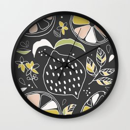 Lemons with Black background Wall Clock