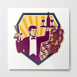 Waiter Serve Wine Glass Bottle Shield Retro Metal Print
