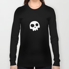 Skull Head logo with Three Teeth | Bones, white, pirates, symbolism, mortality, death, Halloween Long Sleeve T-shirt