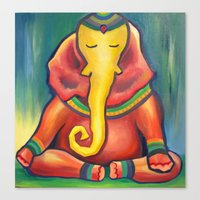 ganesha Canvas Prints featuring Ganesha by Amanda Rose Whittaker
