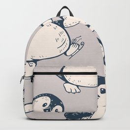 Monochrome seamless pattern with cute penguins. Hand-drawn illustration Backpack