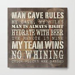 Man Cave Rules Beer Metal Print