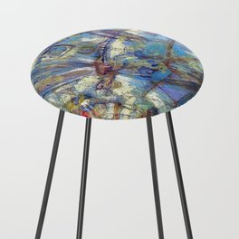 Dragonflies in blue Counter Stool