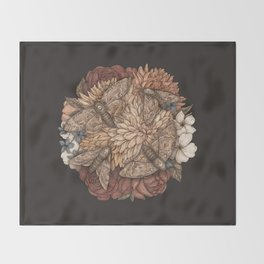 Flowers and Moths Throw Blanket