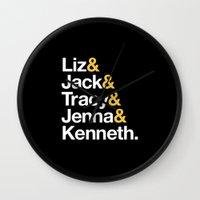 30 rock Wall Clocks featuring 30 ROCK by Maria Giorgi