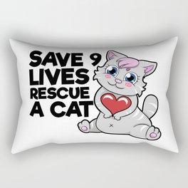 save 9 lives rescue a cat Rectangular Pillow