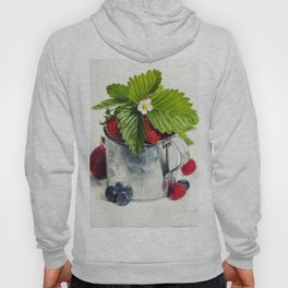 Fresh Berries on Wooden Background. Hoody