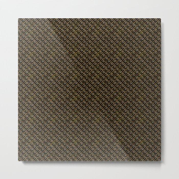 Dark Gold Chainmail Pattern Metal Print