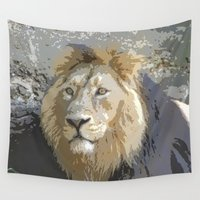 the lion king Wall Tapestries featuring Lion King by MehrFarbeimLeben