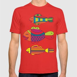 Stylize fantasy fishes under water. T-shirt