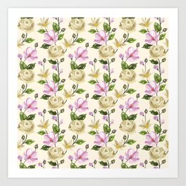 Elegant ivory pink lavender country floral pattern Art Print