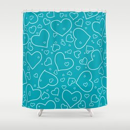 Turquoise and White Hand Drawn Hearts Pattern Shower Curtain