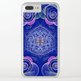 Blue Rosettes Clear iPhone Case