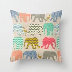 baby elephants and flamingos linen Throw Pillow