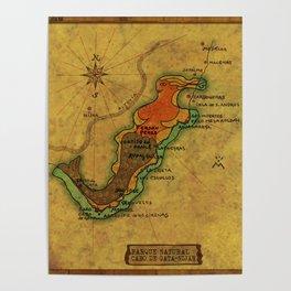 Map Mermaid Cabo de Gata Poster