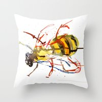bee Throw Pillows featuring Bee by Lauren Thawley