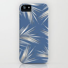 White Gold Palm Leaves on Ocean Blue iPhone Case