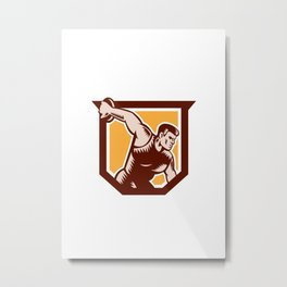 Discus Thrower Shield Woodcut Metal Print